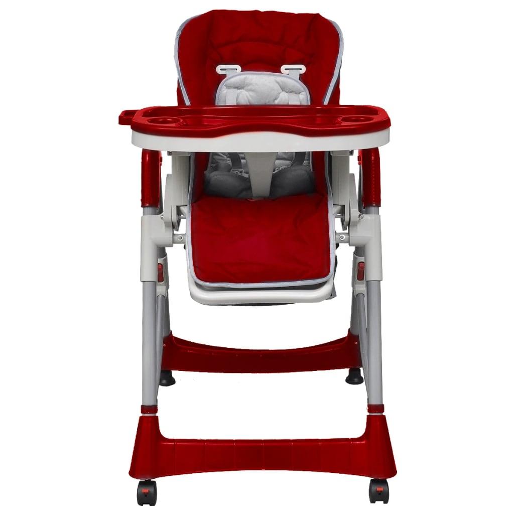 VidaXL Dětská vysoká židle výškově nastavitelná Deluxe, vínová