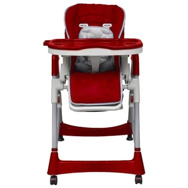 vidaXL Mažylio maitinimo kėdutė, raudono vyno sp., regul. aukščio[2/9]