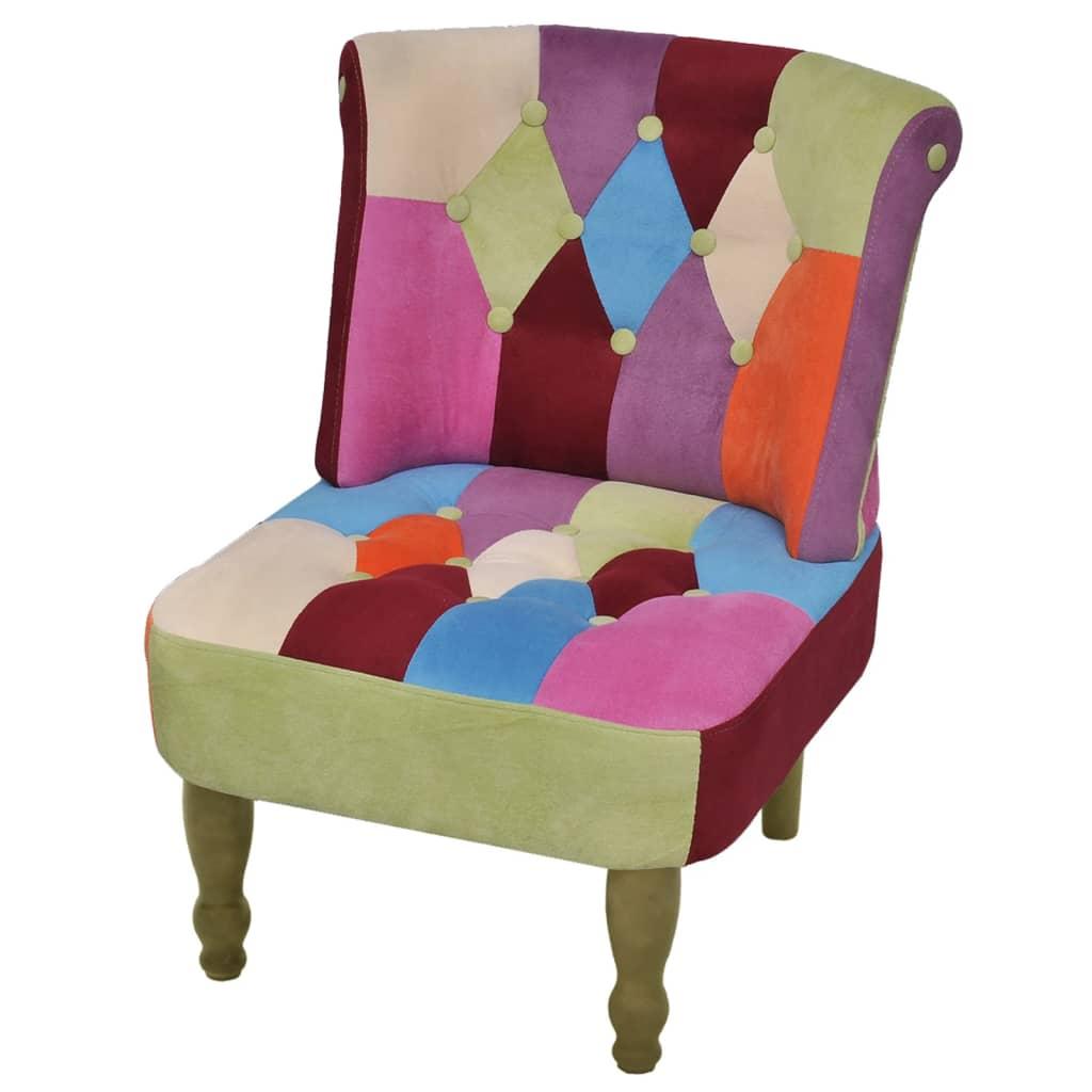vidaXL Fotel francuski, patchworkowy, tkanina