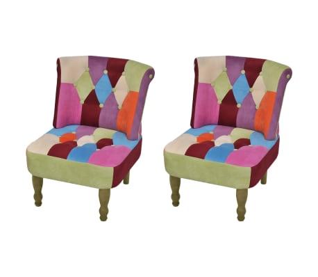 acheter vidaxl fauteuil sans accoudoirs avec design de patchwork 2 pcs tissu pas cher. Black Bedroom Furniture Sets. Home Design Ideas