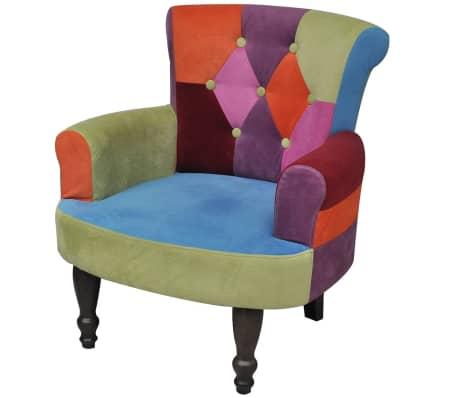 vidaXL Franse stoel met patchwork motief stof