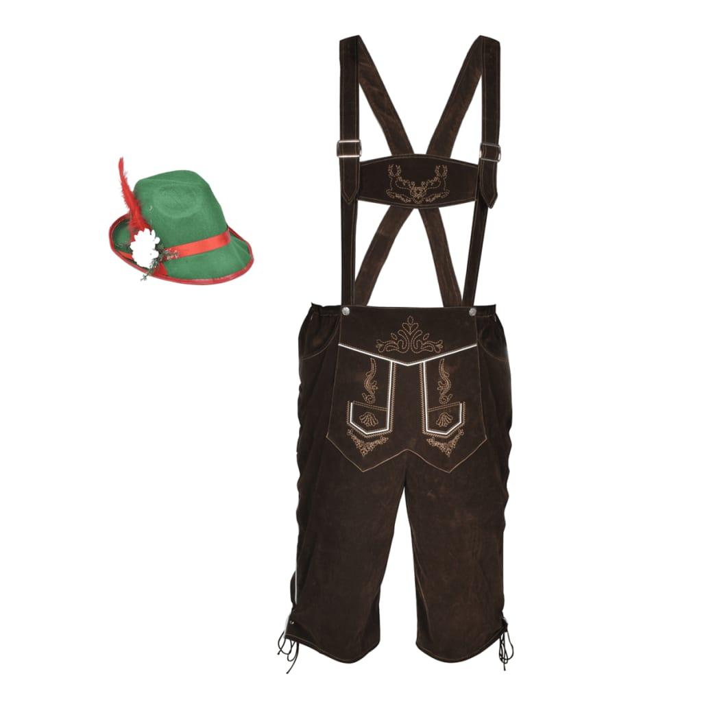 Lederhosen traksipüksid Oktoberfesti mütsiga L