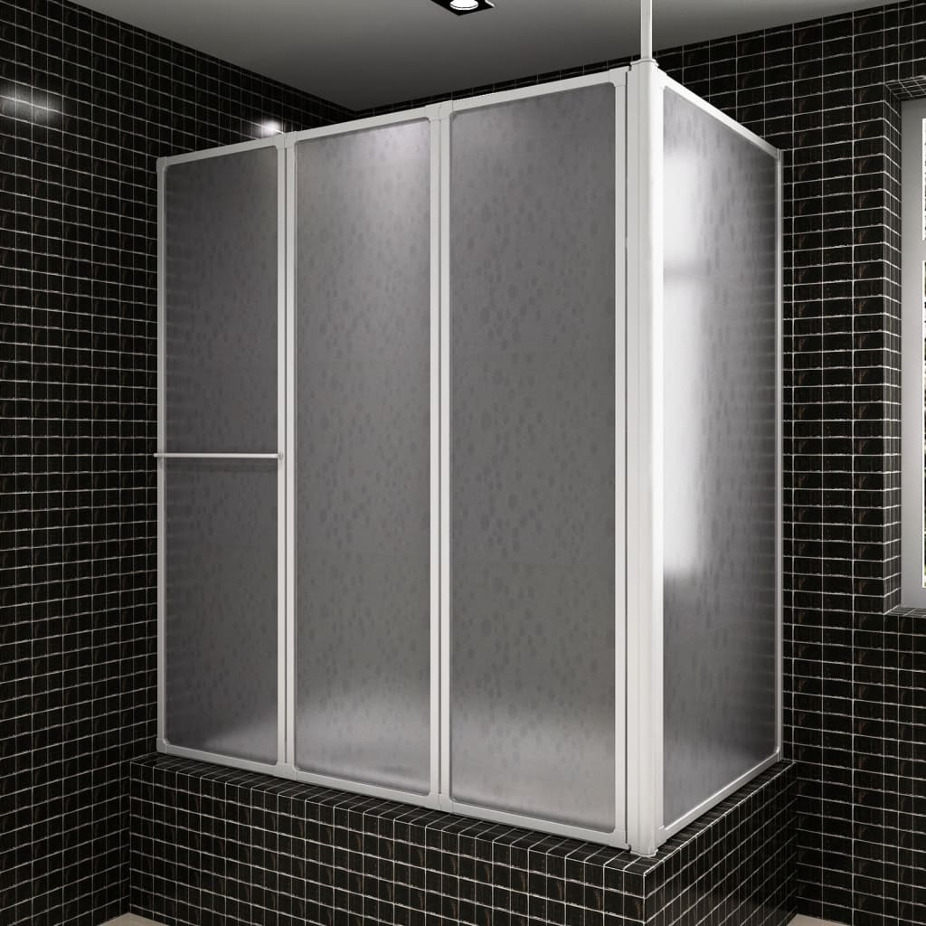 vidaXL Shower Bath Screen Wall L Shape 70 x 120 140 cm 4 Panels Foldable