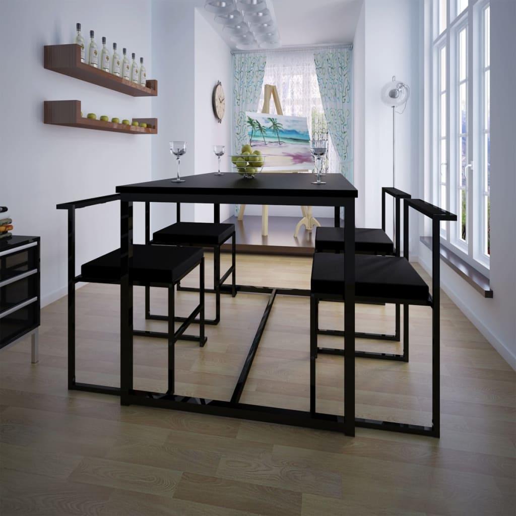 Jídelní set: 1 stůl a 4 židle, černý