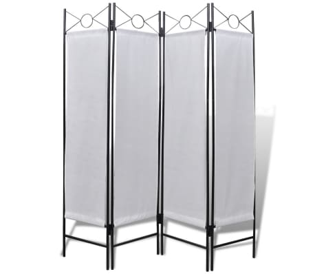 "4-Panel Room Divider Privacy Folding Screen White 5' 3"" x 5' 11""[1/2]"