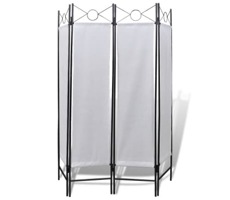 "4-Panel Room Divider Privacy Folding Screen White 5' 3"" x 5' 11""[2/2]"
