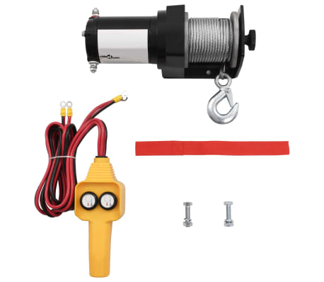 12 V Electric Winch 2000 lb Wire Remote Control