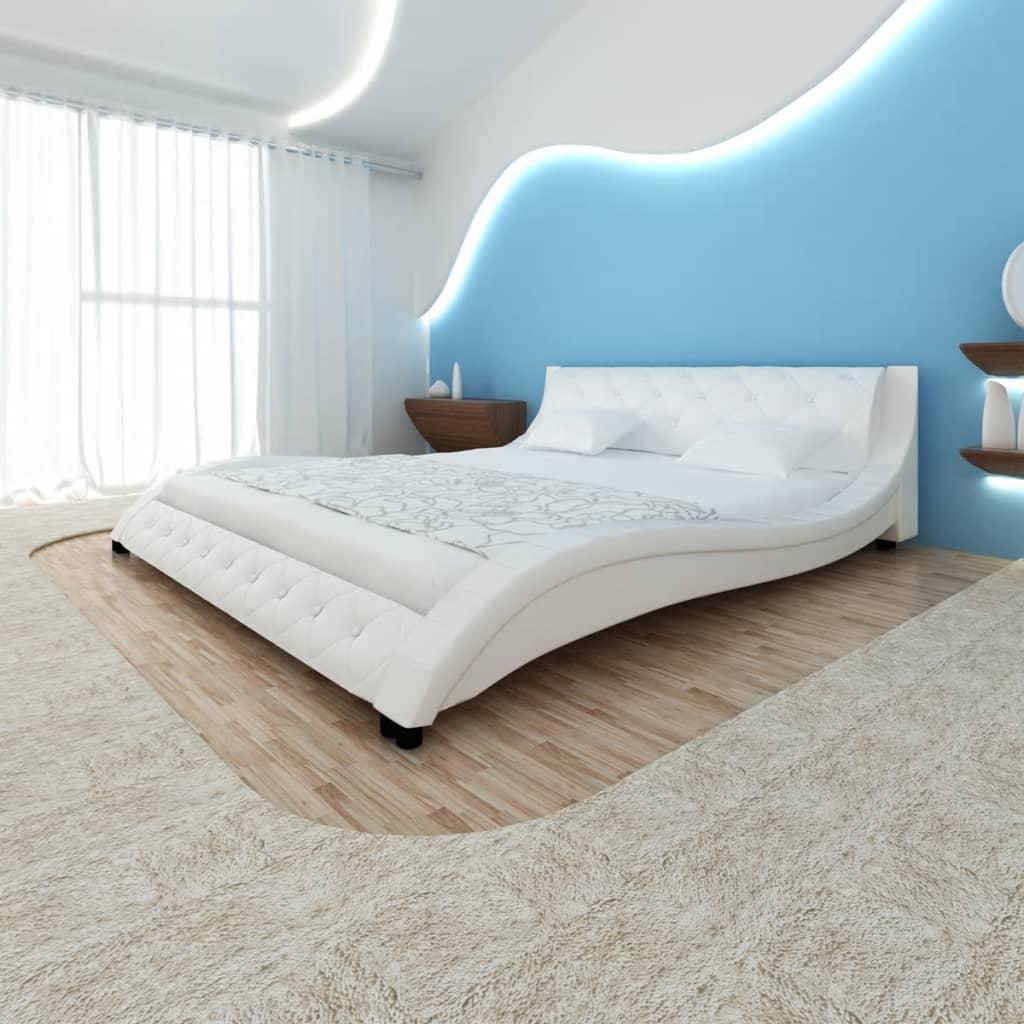Rám postele ve tvaru vlny, umělá PU kůže 200 x 180 cm, bílá