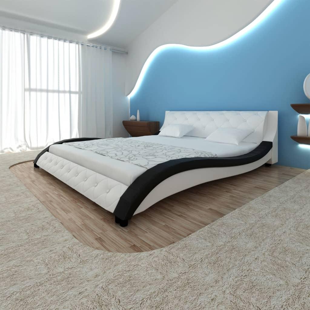 Rám postele ve tvaru vlny, umělá PU kůže 200 x 180 cm, černobílá