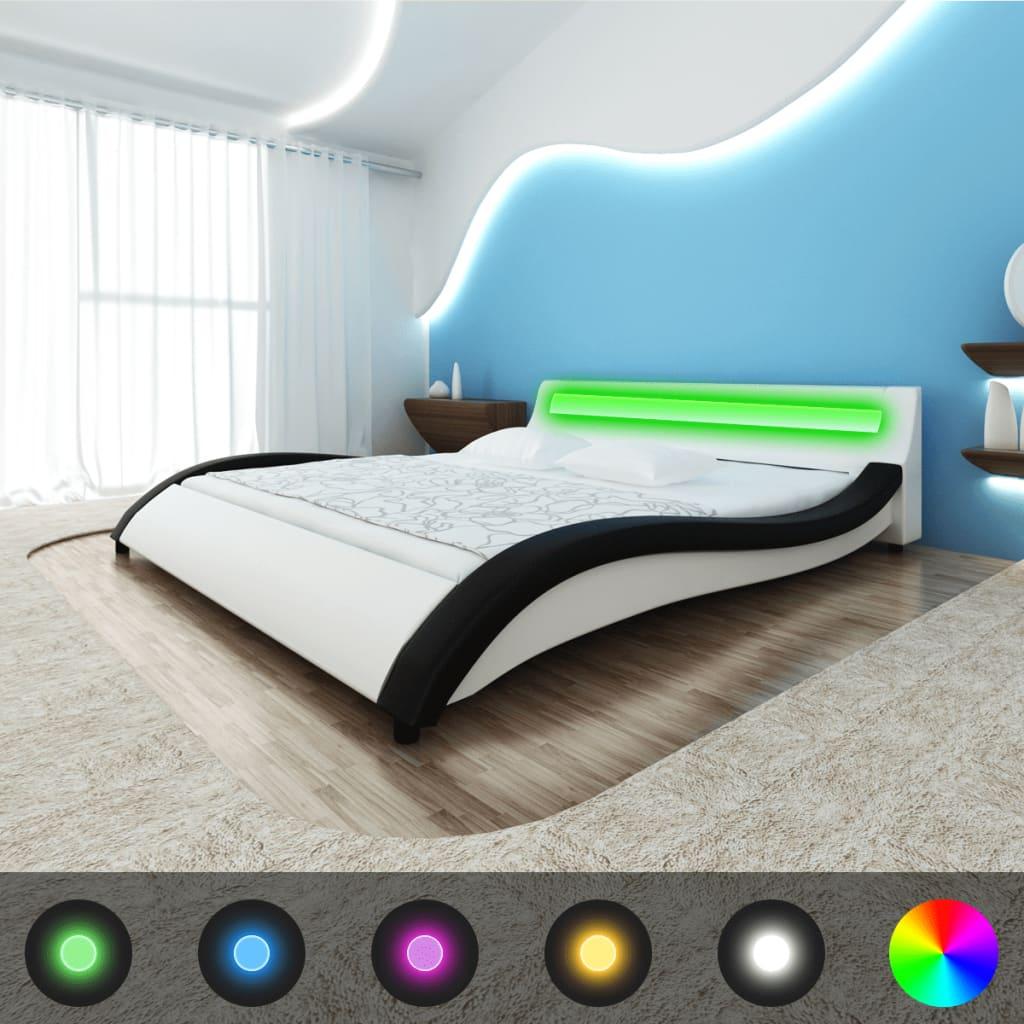 Rám postele ve tvaru vlny 180 cm, se světelným LED pásem, černobílý