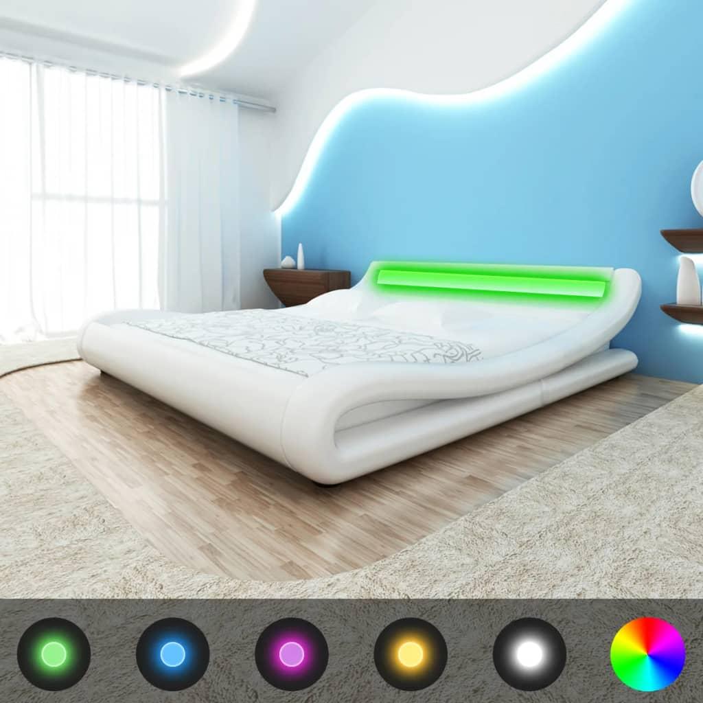 Rám postele v zahnutém tvaru, umělá kůže 140 cm, s LED pásem, bílý