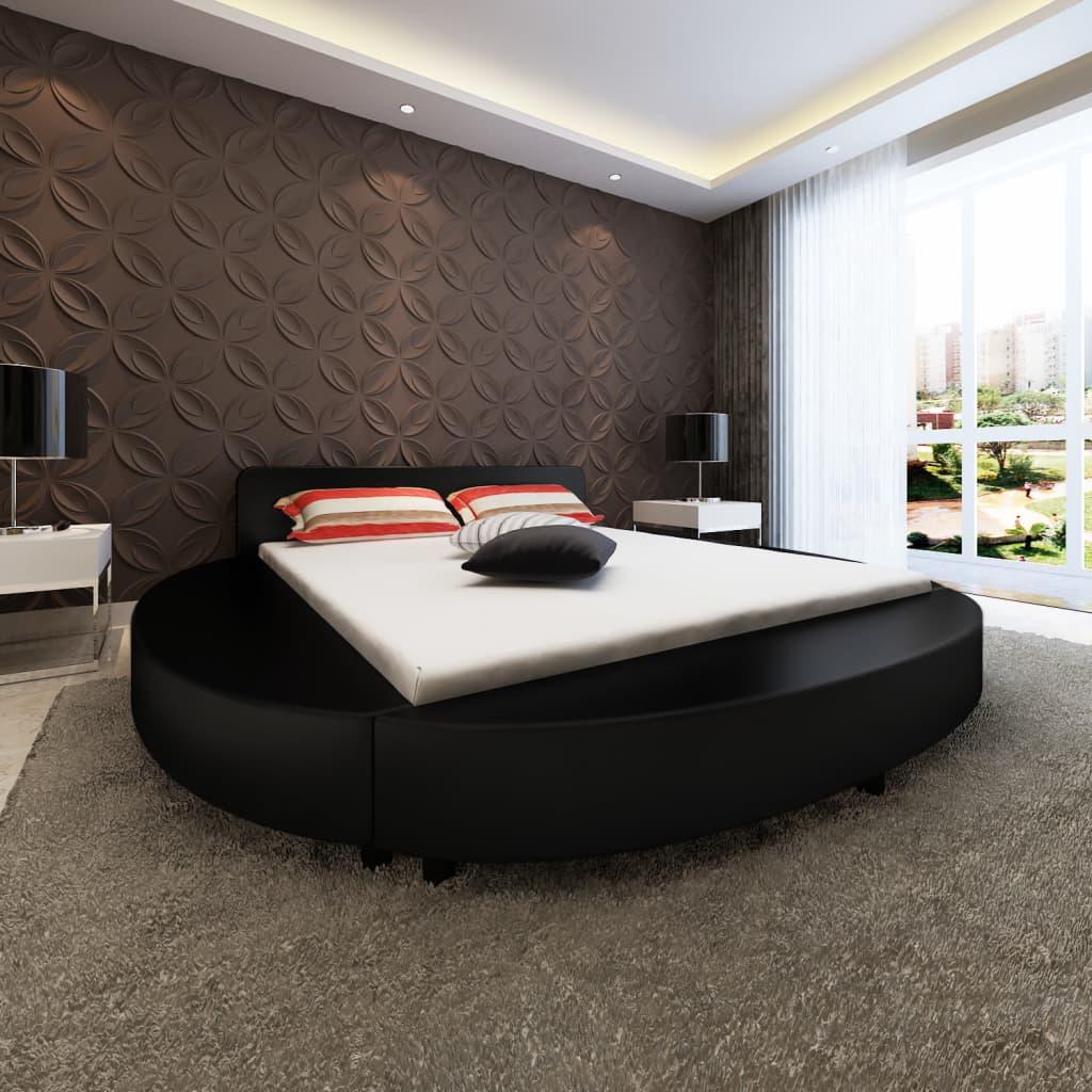 Kulatý černý rám postele z umělé kůže 180 cm