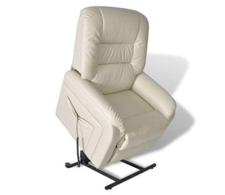vidaXL Rozkładany fotel telewizyjny, beżowy, sztuczna skóra