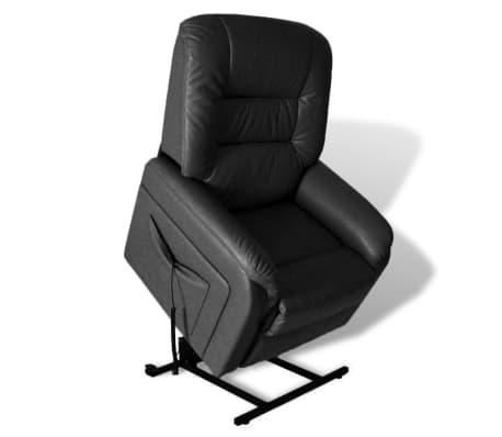 vidaXL Rozkładany fotel telewizyjny, czarny, sztuczna skóra