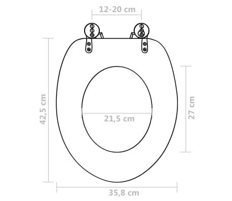 vidaXL Klozeto sėd. su sunk. užsid. dang., balta, MDF, papr. dizain.[9/9]