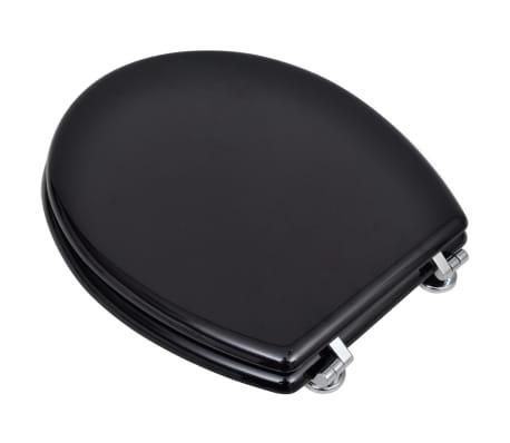 vidaXL Toiletbril hard-close simpel ontwerp MDF zwart[3/9]