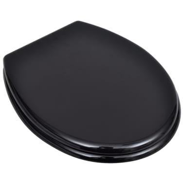 vidaXL Toiletbril hard-close simpel ontwerp MDF zwart[2/9]