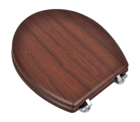 vidaXL Toilet Seats with Hard Close Lids MDF Brown[3/9]