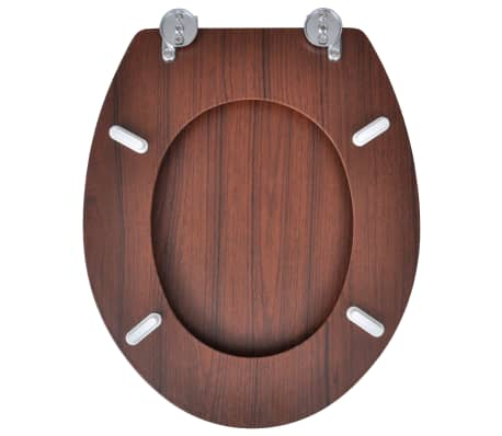 vidaXL Toilet Seats with Hard Close Lids MDF Brown[5/9]