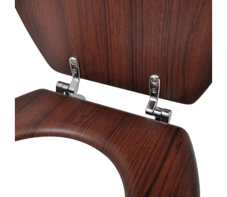 vidaXL Toilet Seats with Hard Close Lids MDF Brown[6/9]