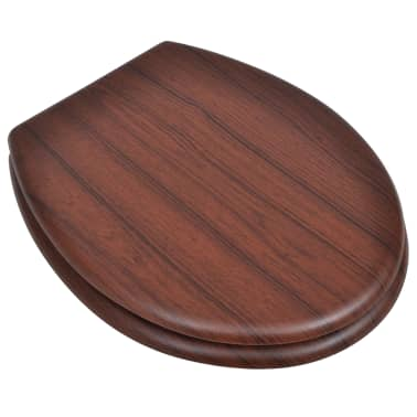 vidaXL Toilet Seats with Hard Close Lids MDF Brown[2/9]