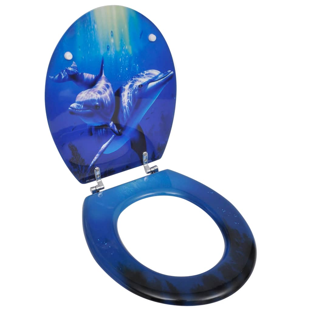 WC sedátko MDF s víkem design delfíni
