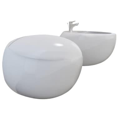 Vägghängd toalett och bidé i Vitt[2/13]