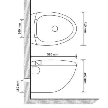 Vägghängd toalett och bidé i Vitt[13/13]