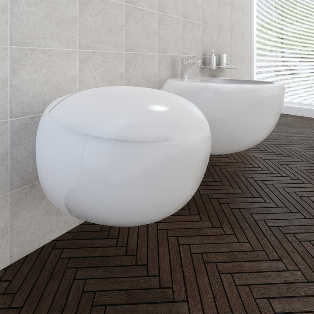 Závěsná keramická toaleta a bidet set - bílá