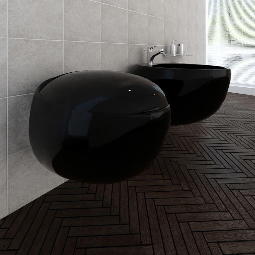 Závěsná keramická toaleta a bidet set - černá