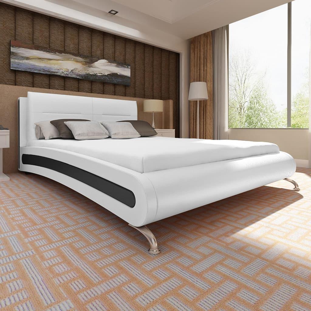 vidaXL Cadru de pat, alb, 180 x 200 cm, piele artificială vidaxl.ro