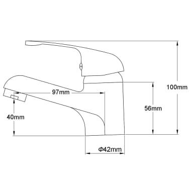 vidaXL Grifo mezclador de lavabo cromado[6/6]