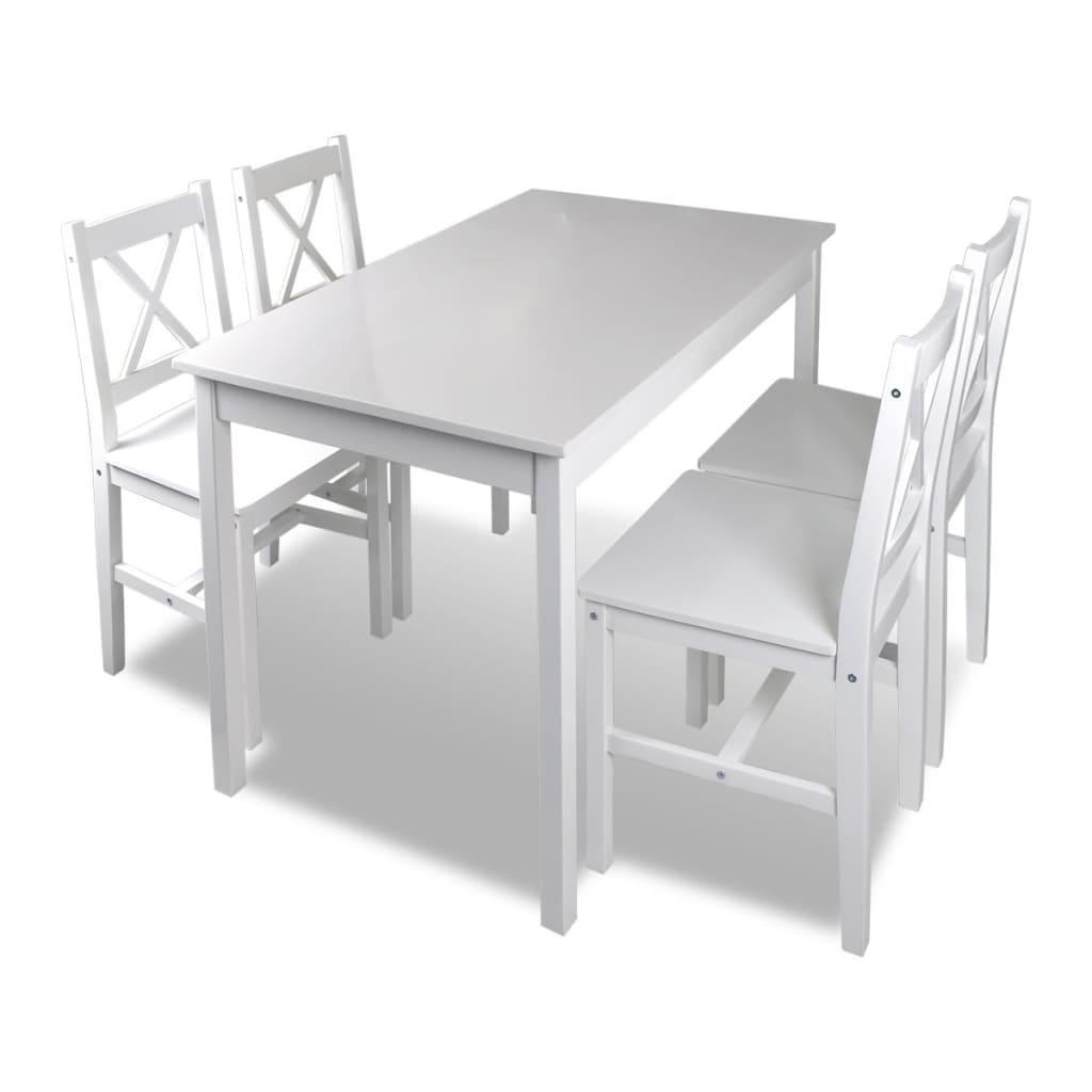 Bild von vidaXL Holztisch mit 4 Stühle Möbel Set Weiß Tisch Esstischset
