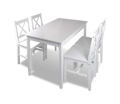 Wooden Table with 4 Wooden Chairs Furniture Set White[2/5]