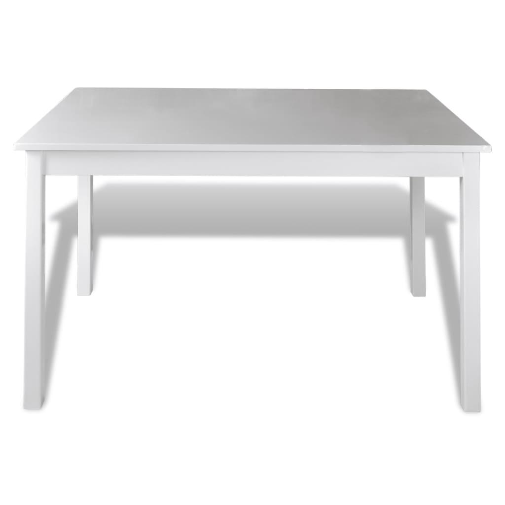 vidaXL Houten eettafel met 4 stoelen (wit)