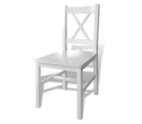 Wooden Table with 4 Wooden Chairs Furniture Set White[4/5]