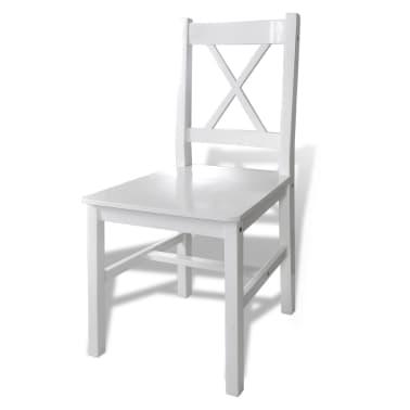Set Drveni Stol i 4 Drvene Stolice Bijeli[4/5]