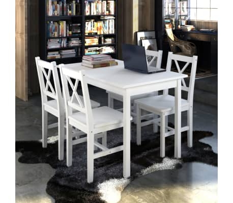 Wooden Table with 4 Wooden Chairs Furniture Set White[1/5]