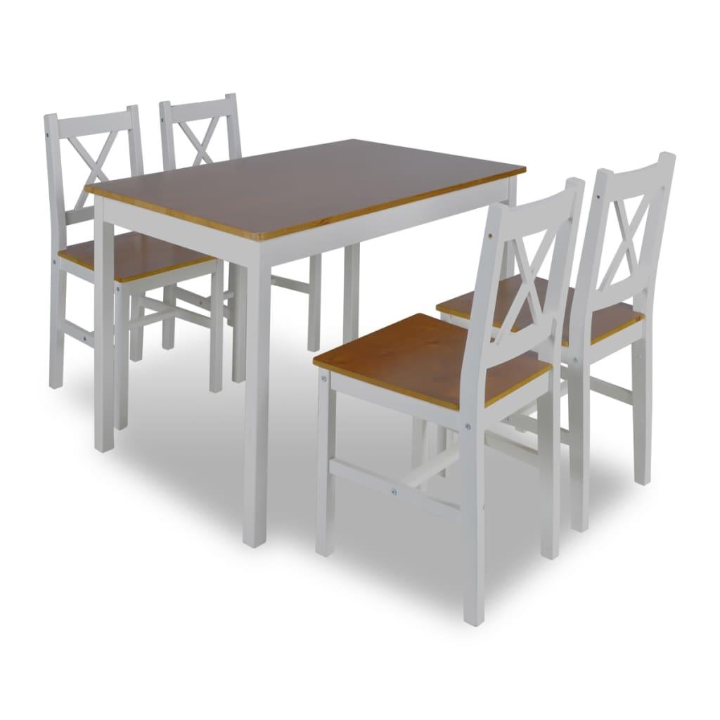vidaXL Ξύλινο τραπέζι με 4 ξύλινες καρέκλες Σετ επίπλων Καφέ