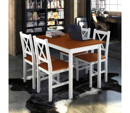 Wooden Table with 4 Wooden Chairs Furniture Set Brown[1/6]
