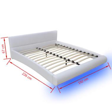 Letto in pelle artificiale 180 x 200 cm bianco con striscia led - Letto in pelle bianco ...