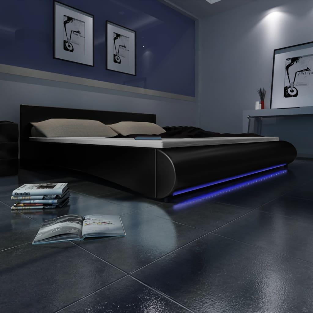 Černá postel z umělé kůže s LED pásem 180 x 200 cm