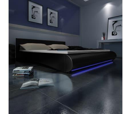 Kunstlederen bed 180 x 200 cm met led-verlichting (zwart) online ...