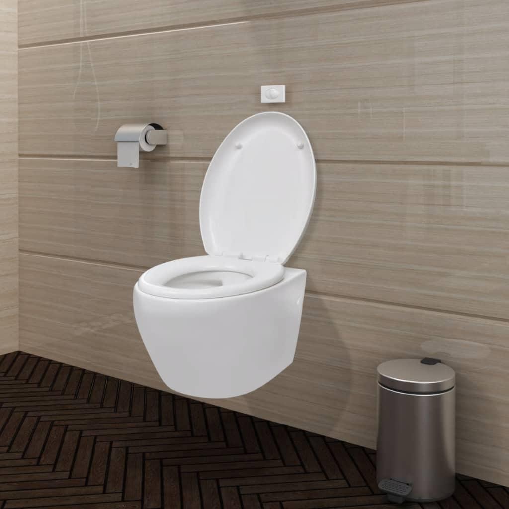 Závěsné bílé oválné WC s funkcí soft close