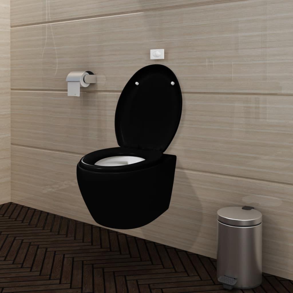 Závěsné černé oválné WC s funkcí soft close