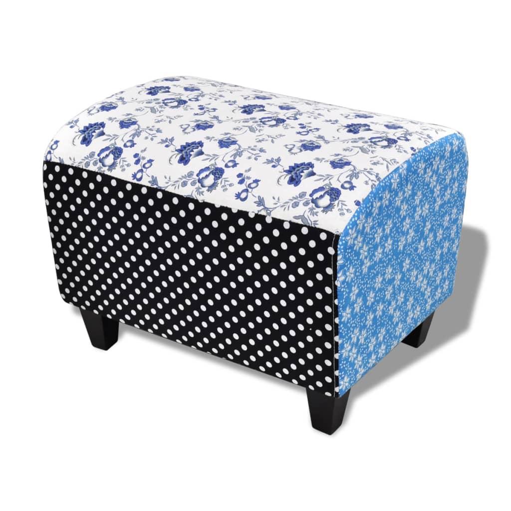 999240880 Patchwork Fußhocker Country Living Stil Blumen Punkte Blau & Weiß