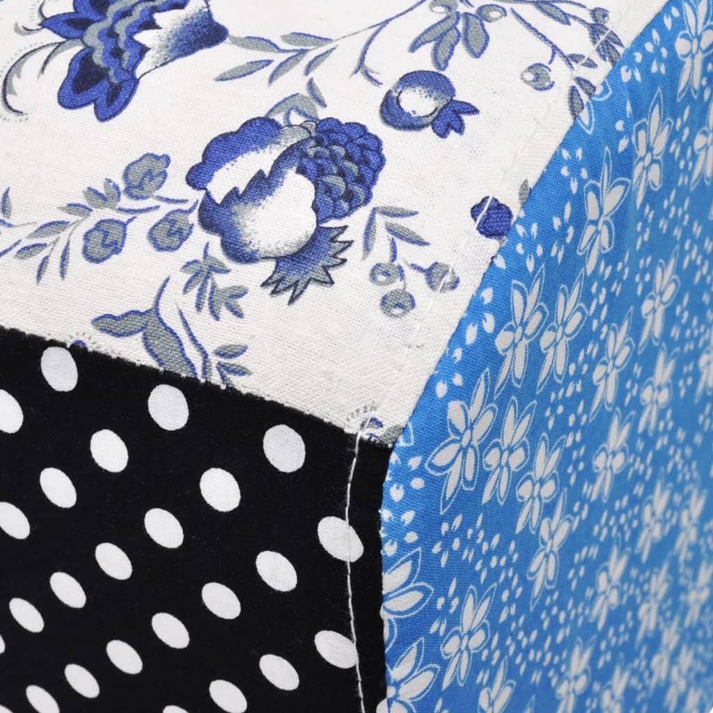 Poef met bloemen en stippen blauw en wit