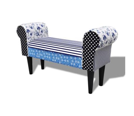 vidaXL Patchworkowa ławka w rustykalnym stylu, niebiesko-biała[2/6]