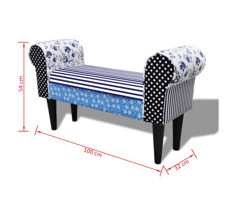 vidaXL Patchworkowa ławka w rustykalnym stylu, niebiesko-biała[6/6]