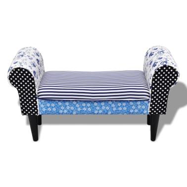 vidaXL Patchworkowa ławka w rustykalnym stylu, niebiesko-biała[3/6]